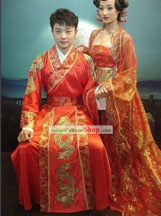Chinese Traditional Dragon and Phoenix Wedding Dress 2 Sets for Bride and Bridegroom