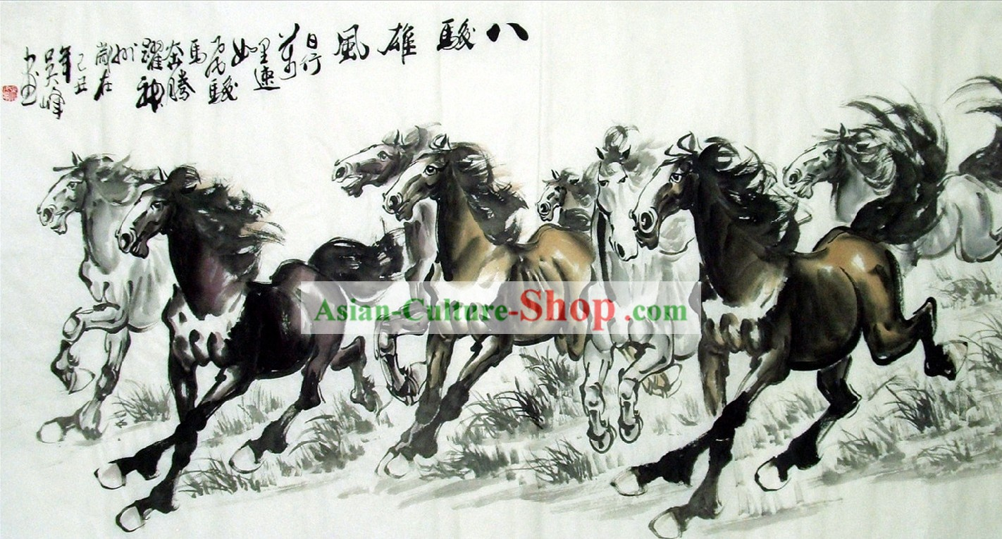 Chinese Galloping Horse Ink Paintings by Lin Mingqing