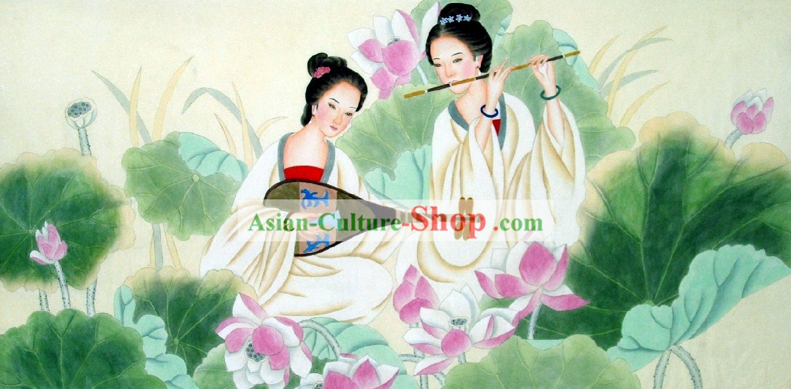 Traditional Chinese Painting - the Tang Painting by Liu Lanting