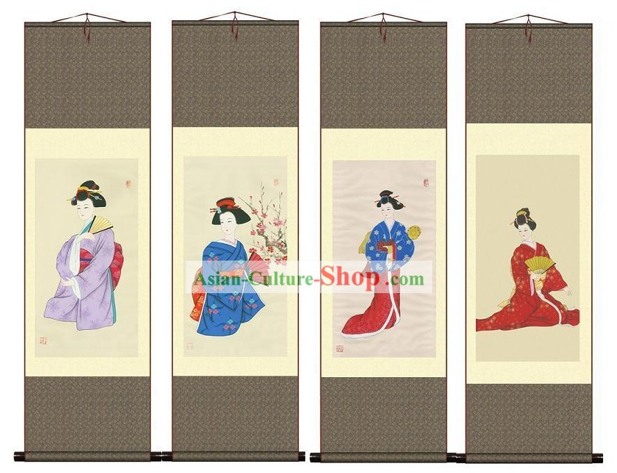 Chinese Silk Geisha Paintings 4 Sets