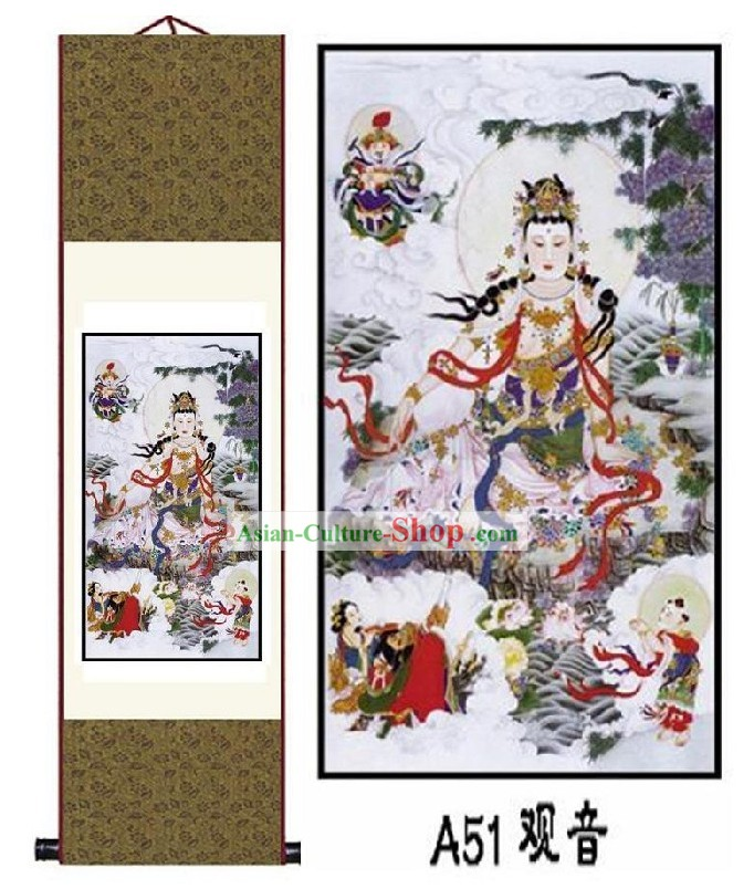 Chinese Silk Buddha Painting