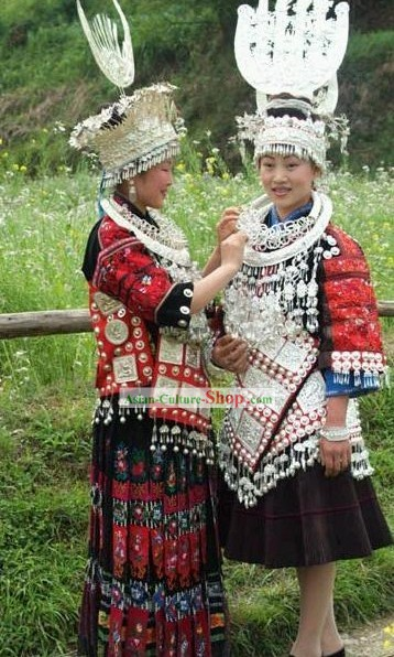 Chinese Minority Miao Traditional Dress and Miao Silver Head Gear and Miao Silver Necklace Set