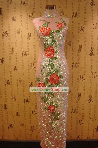 Traditional Handmade Shinning Flower Cheongsam