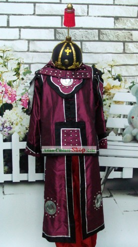 Chinese Traditional Ancient Armour Costumes and Helmet Set of Ancient General