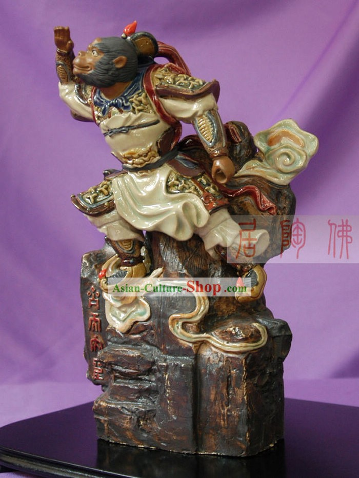 Shiwan Ceramic Monkey Sculpture/Hand Carved Monkey King Statue