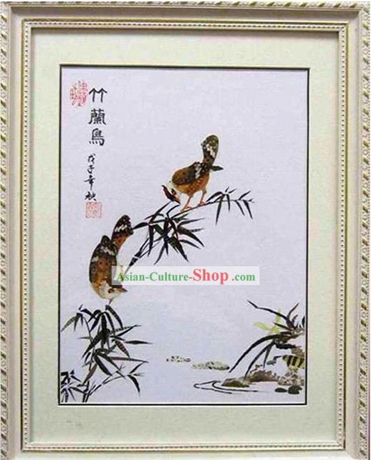 Handmade Real Butterfly Wing Painting - Bamboo and Birds