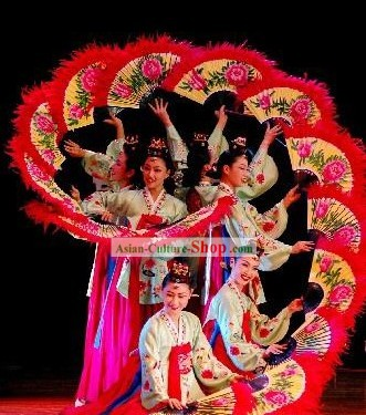 Traditional Peony Feather Dance Fan