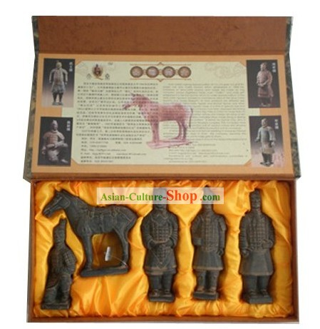 Chinese Xian Terra-cotta Figures Five Statues Set