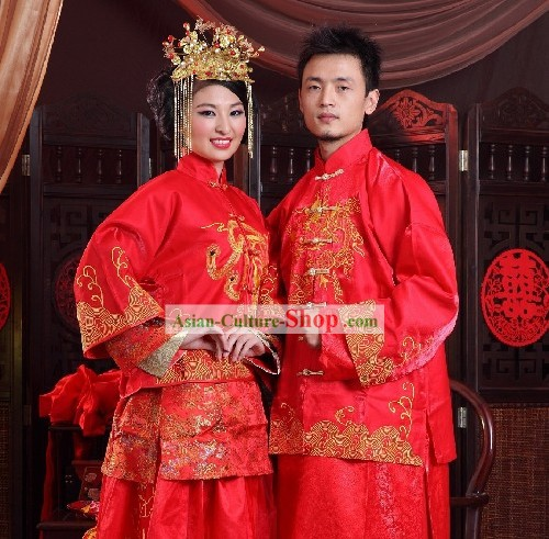 Traditional Handmade Lucky Red Long Wedding Dress for Bride and Bridegroom