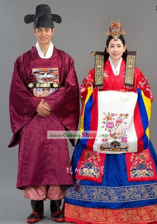 Traditional Korean Wedding Clothing Complete Set for Bride and Bridegroom