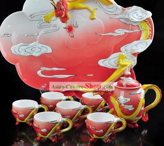 Chinese Ceramic Dragon Teapot 8 Pieces Set