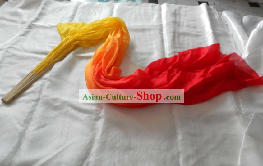 Chinese Long Silk Color Transition Dance Fan