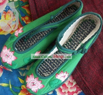 Chinese Traditional Embroidery Lotus Shoes