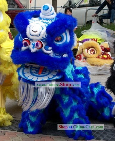 Glow in Dark Luminous Blue Lion Dance Costumes Complete Set