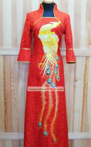 Chinese Hand Embroidered Wedding Phoenix Modern Qipao for Women