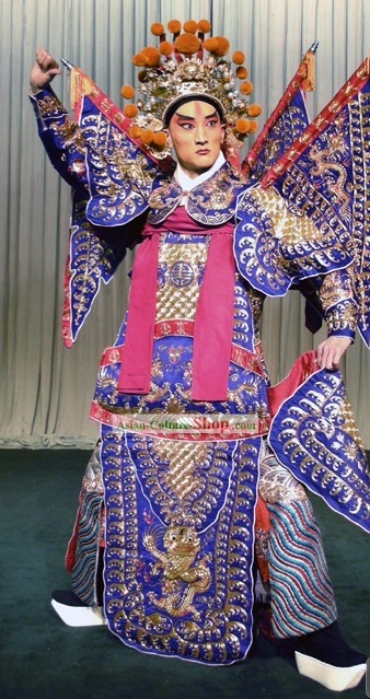 Chinese Opera Wusheng Fighting General Armor Costume and Helmet Complete Set