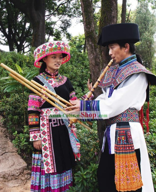 Yunnan Miao Ethnic Clothing for Men and Women