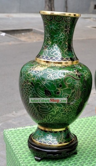Chinese Classic Green Cloisonne Vase