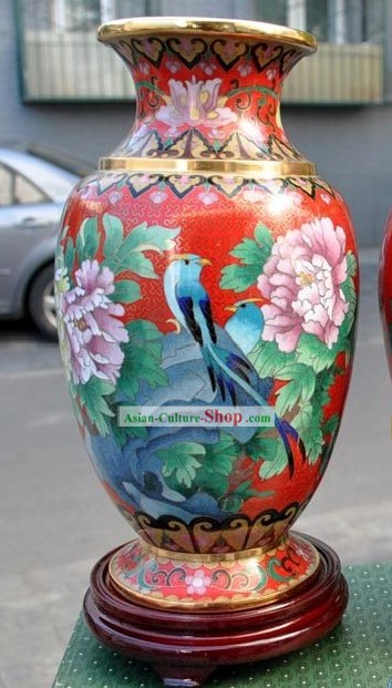 Chinese Classic Cloisonne Bird and Flower Vase