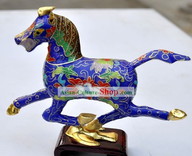 Chinese Classic Cloisonne Blue Running Horse
