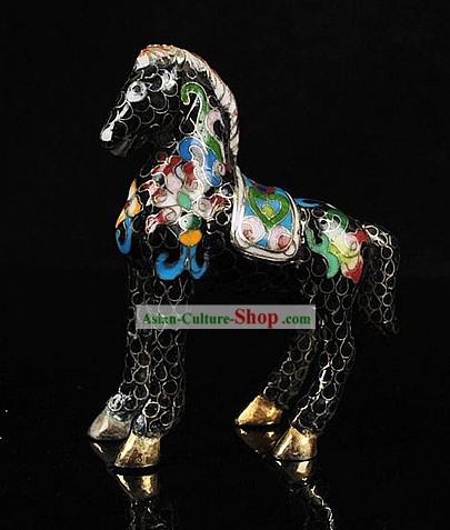 Chinese Classic Cloisonne Horse One Pair