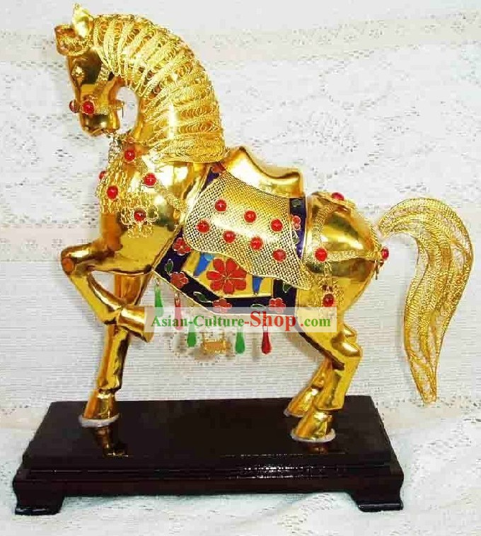 Chinese Classic Cloisonne Golden Horse
