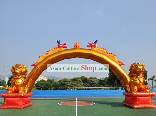 Large Chinese Inflatable Dragons Arches and Two Inflatable Lions Set