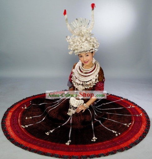 Chinese Miao Minority Ethnic Costumes and Hat Set