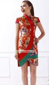 Ancient Chinese Silk Golden Flower Short Cheongsam