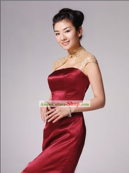 Chinese Royal Red Wedding Qipao Cheongsam