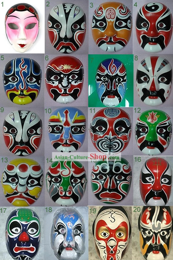 Traditional Peking Opera Dragon Dancer Masks 10 Pieces Set
