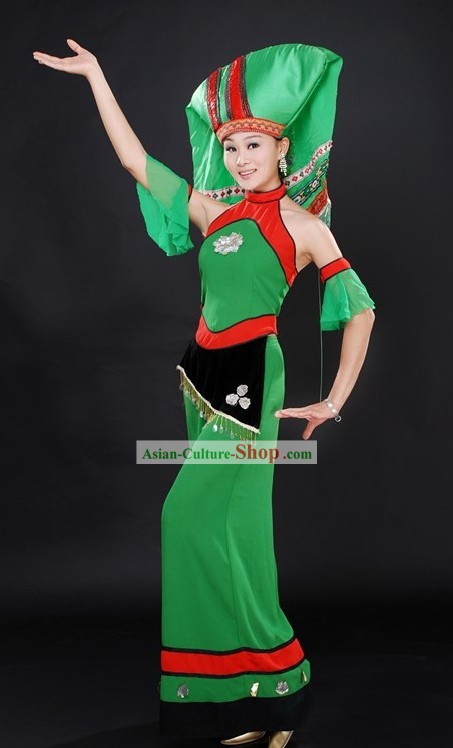 Green Chinese Ethnic Zhuang Clothing and Hat for Women