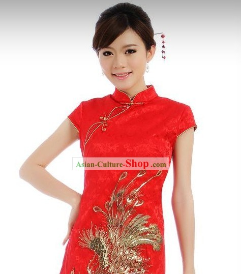 Chinese Red Phoenix Short Cheongsam