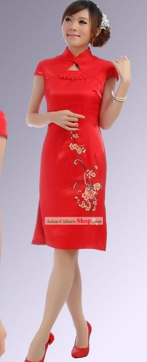Chinese Red Plum Blossom Short Cheongsam