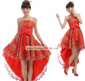Chinese Classical Red Golden Flower Evening Dress