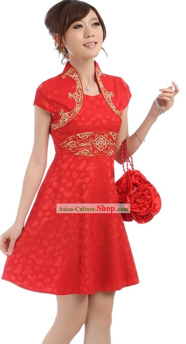 Chinese Wedding Red Short Qipao