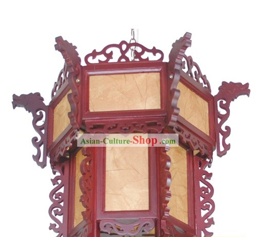 Traditional Chinese Wooden Carved Dragon Palace Lantern