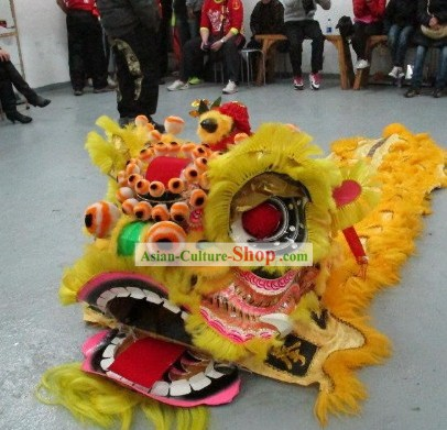 Old Style FUT SAN Southern Lion Dance Mask and Tail Complete Set