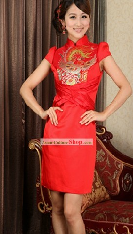 Chinese New Year Red Phoenix Skirt