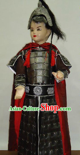 Ancient Chinese General Armor Costume and Hat for Kids
