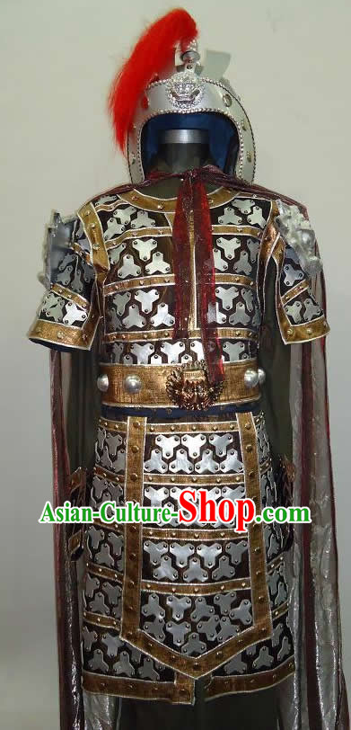 Ancient Chinese General Yue Fei Armor Costumes and Helmet for Men