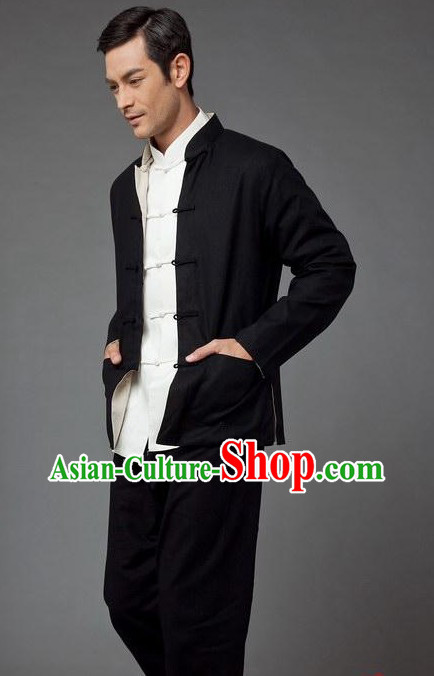 Black Bruce Lee Mandarin Style Kung Fu Practice and Performance Clothing for Men
