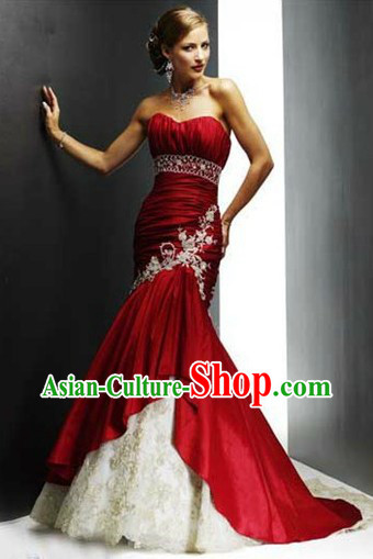 Fish Tail Chinese Style Red Evening Dress for Brides