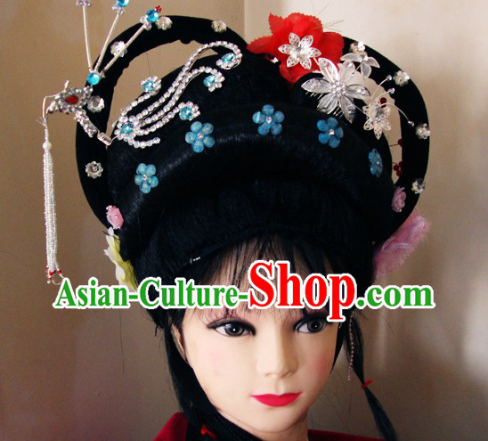 Traditional Chinese Dramatic Huangmei Opera Long Black Braids and Hair Accessories