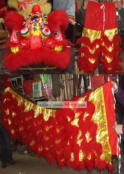 Glow in Dark Luminous Grand Opening and Happy Celebration Red Lion Dance Costumes Complete Set