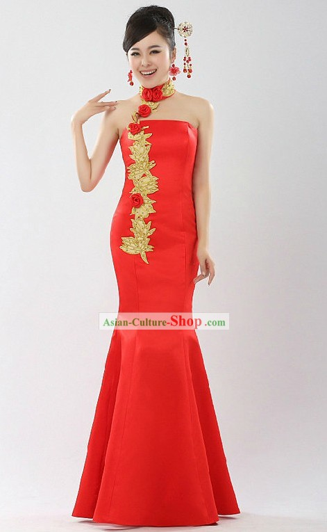 Chinese Classical Bride Wedding Evening Dress
