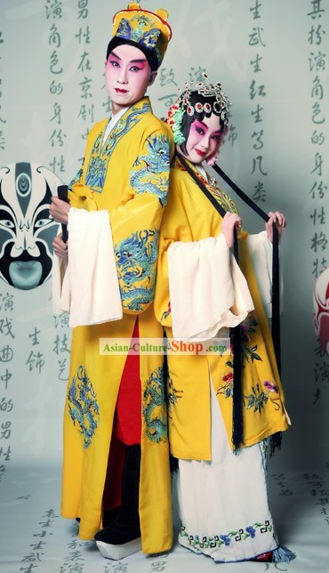 Beijing Opera Actor and Actress Costumes Two Complete Set