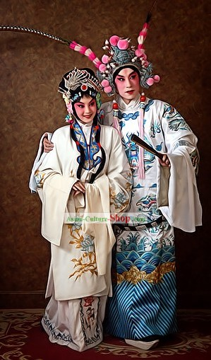 Chinese Beijing Opera Lv Bu and Diao Chan Costumes and Headpiece for Men and Women