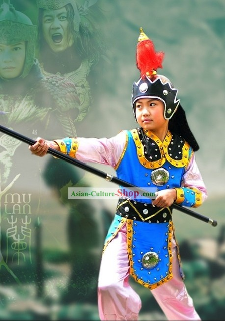 Women Hero Hua Mulan Costume and Hat for Children
