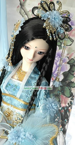 Ancient Chinese Light Blue Hair Accessories and Long Wig Complete Set